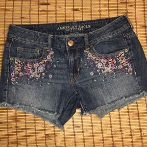 American Eagle Embroidered Jean Cut Off Shorts